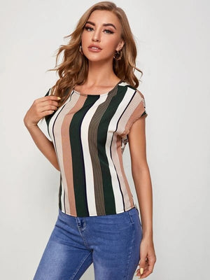 Batwing Sleeve Twist Cutout Back Striped Shirt Top Tee