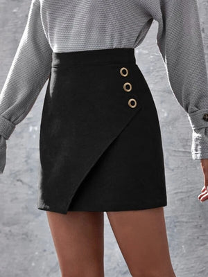 Solid Garment Eyelet Mini Skirt