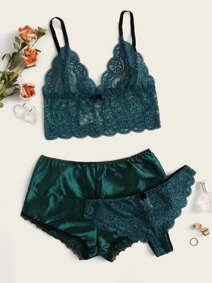 Floral Lace Lingerie Set With Satin Shorts Set Three Piece