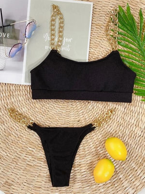 Chain Strap Tanga Bikini Swimsuit