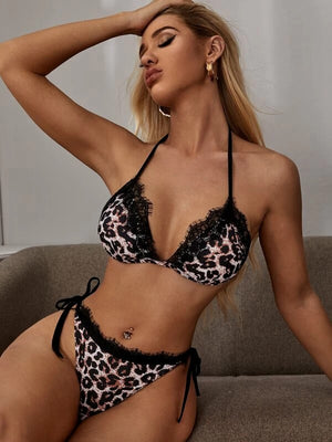 Leopard Lace Trim Halter Tie Side Bikini Swimsuit
