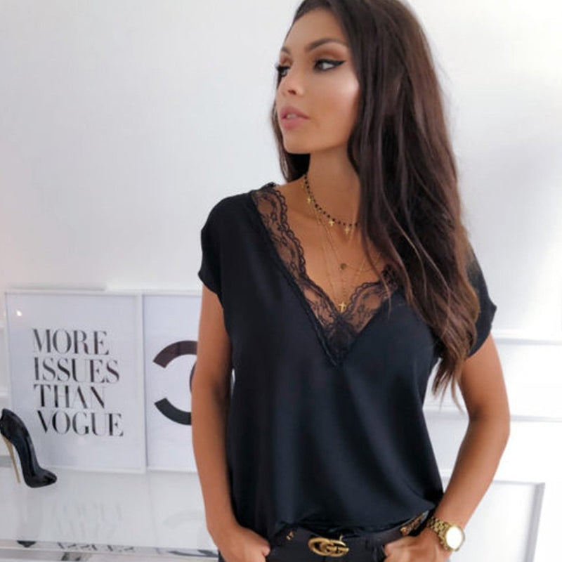 Eyelash Lace Fitted Shirt Top Tee