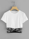 Contrast Criss Cross Slogan Waist Crop Shirt Top Tee
