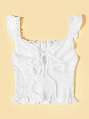 Embroidered Smocked Self-Tie Cami Shirt Top Tee