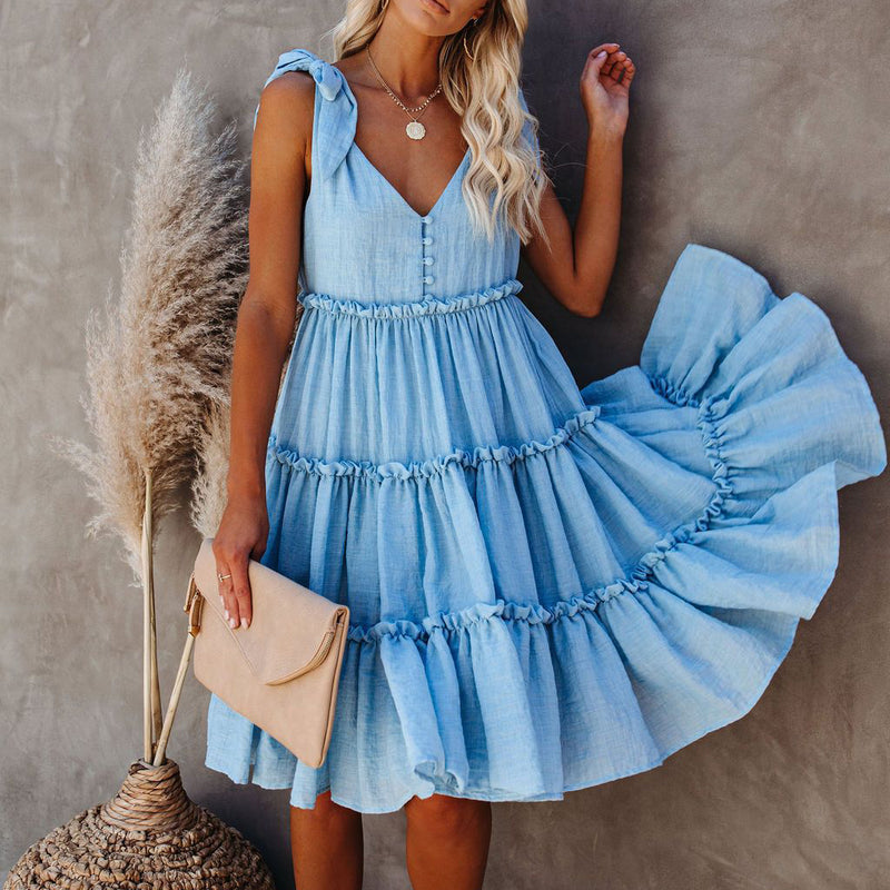 Ruffle Hem Tied Backless Dress