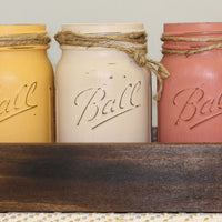 Home Decor Ball Jars, Set of 3 with Wood Box
