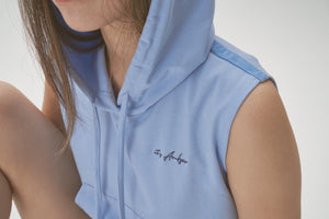 Frankie Crop Hoodie Top - Cornflower Blue