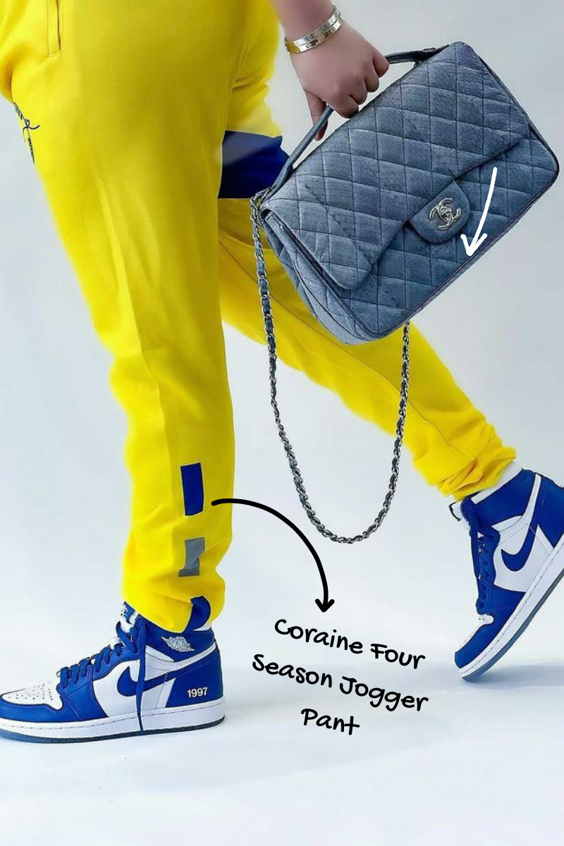 Get the Look: Coco Crowns by Valencia Coraine (coraine four season jogger pant + yellow sweat pant + yellow joggers + female streetwear brand + black owned business)