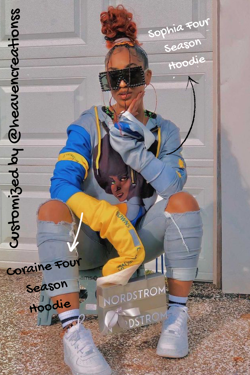 Get the Look: Coco Crowns by Valencia Coraine (coraine + sophia four season hoodie custom / blue and yellow hoodie / female streetwear clothing / black owned business)