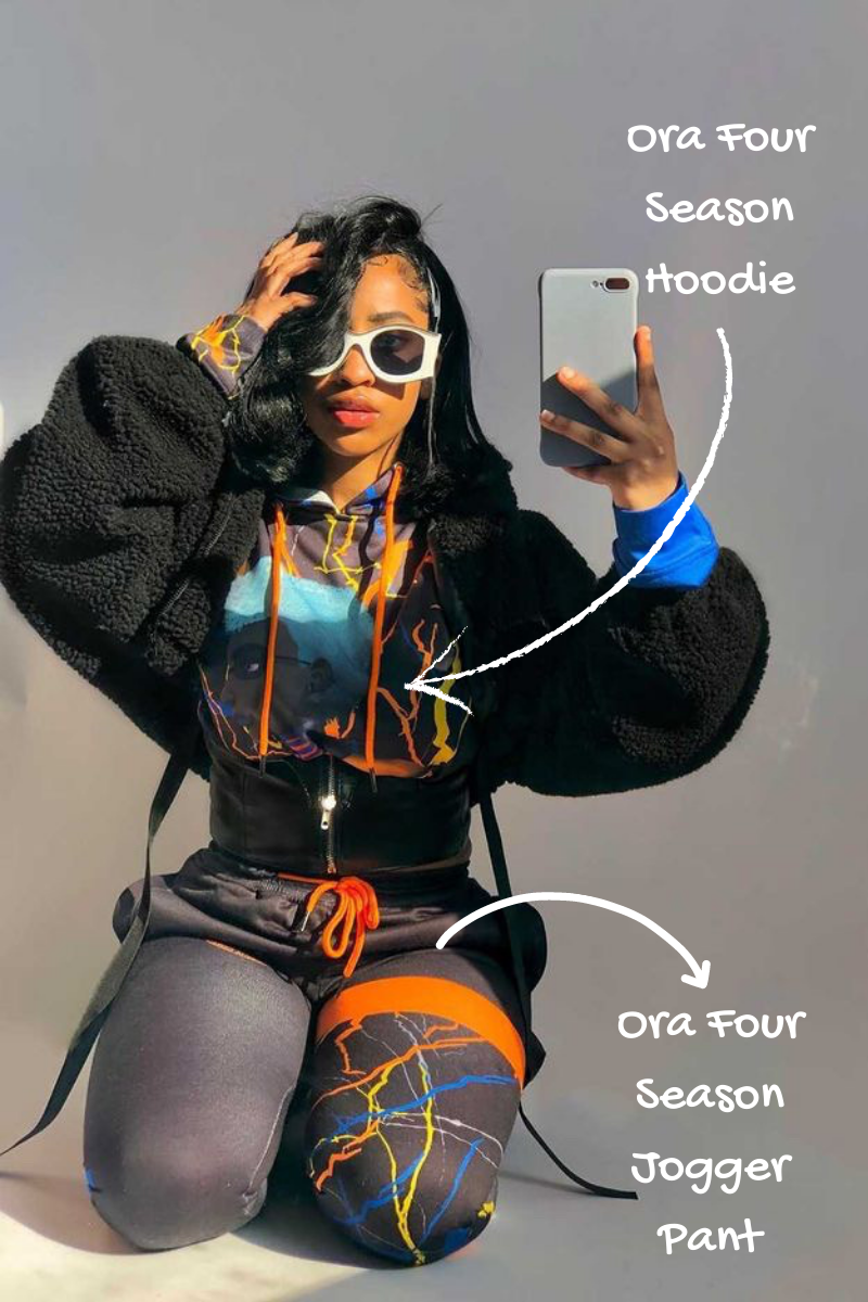 Get the Look: Coco Crowns by Valencia Coraine (ora four season hoodie + ora four season jogger pant / black sweatsuit / black matching hoodie set / black jogger hoodie set / female streetwear brand / black owned business / kylie jenner outfit)