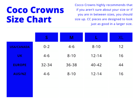 Coco Crowns by Valencia Coraine Size Chart