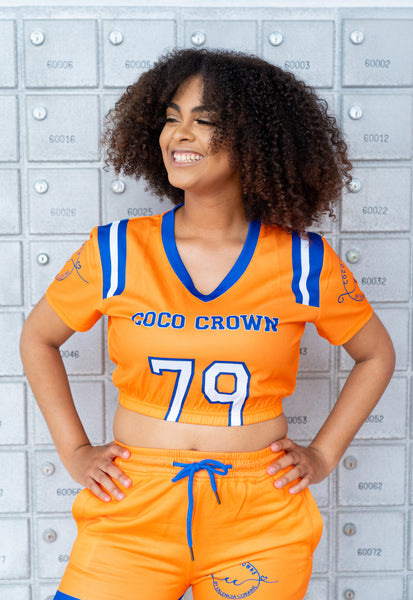 Orange and Blue Football Jersey Top