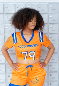Coco Crowns by Valencia Coraine Cropped Football Jersey Top