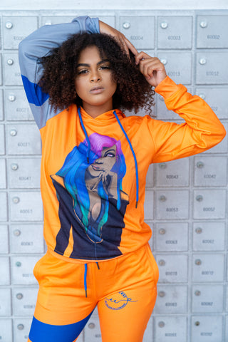 Coco Crowns by Valencia Coraine Orange Graphic Hoodie