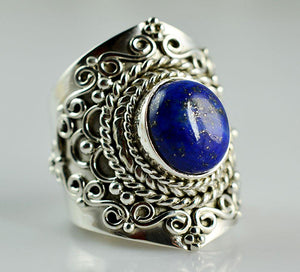 Lapis Lazuli 925 Solid Sterling Silver Handmade Infinity Ring - NavyaCraft
