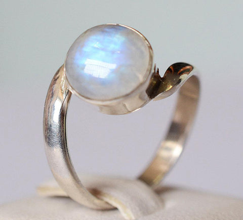 Rainbow Moonstone 925 Solid Sterling Silver Handmade Wave Ring - NavyaCraft