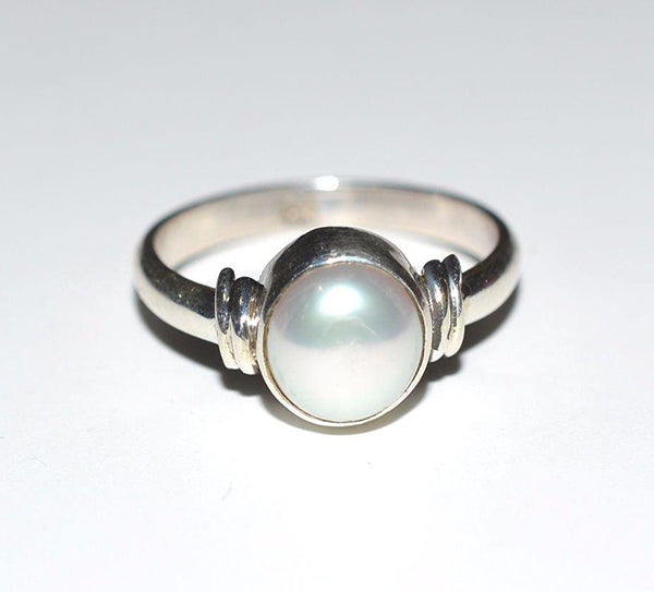 Fresh Water Pearl 925 Solid Sterling Silver Handmade Celestial Ring - NavyaCraft