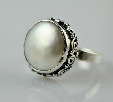 Fresh Water Coin Pearl 925 Solid Sterling Silver Flat Ring - NavyaCraft