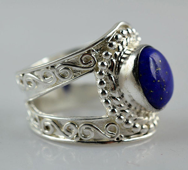 Lapis Lazuli 925 Solid Sterling Silver Handmade Engraved Ring - NavyaCraft