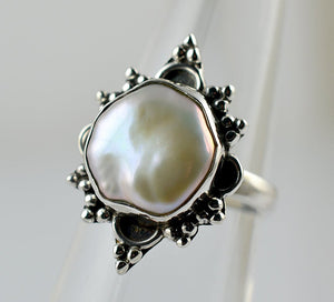Freshwater Coin Pearl Ring 925 Solid Sterling Silver Crystal Ring - NavyaCraft