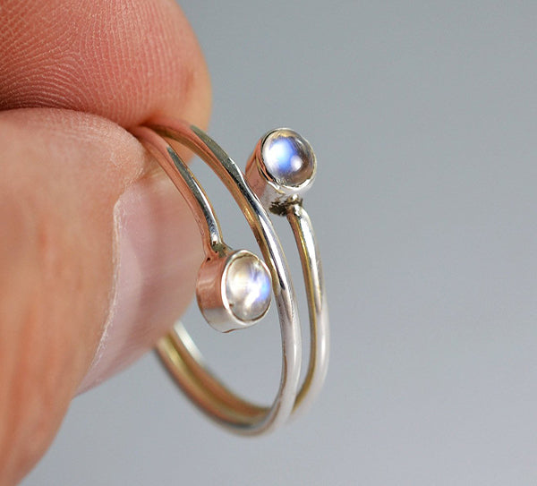Rainbow Moonstone 925 Solid Sterling Silver Handmade Dual Curl Ring - NavyaCraft