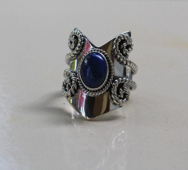 Lapis Lazuli 925 Solid Sterling Silver Handmade Shield Ring - NavyaCraft