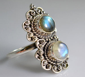 Rainbow Moonstone 925 Solid Sterling Silver Handmade Twin Stone Ring - NavyaCraft