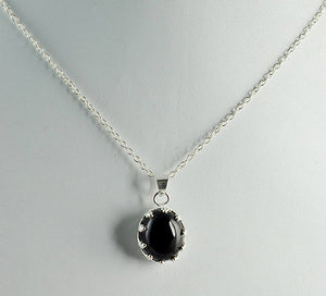 Black Onyx 925 Solid Sterling Silver Handmade Stylish Oval Pendant with Chain Necklace - NavyaCraft