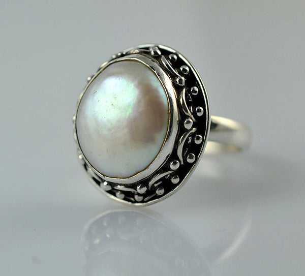 Freshwater Coin Pearl 925 Solid Sterling Silver Circlet Ring - NavyaCraft