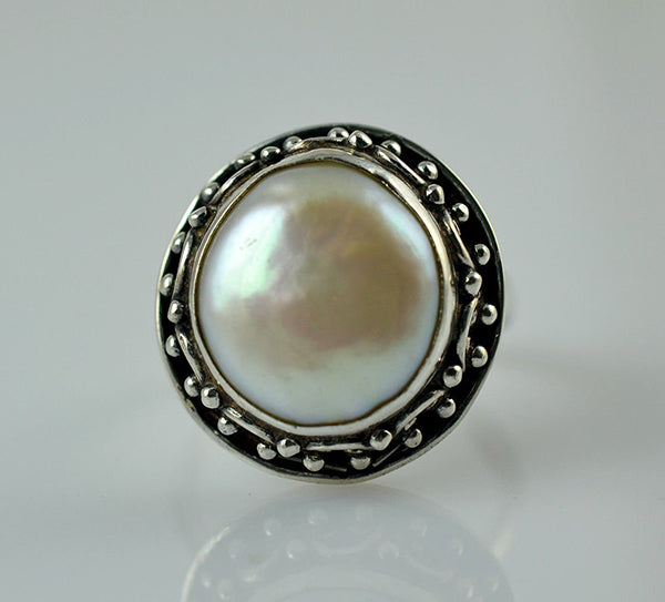 Fresh Water Coin Pearl 925 Solid Sterling Silver Circlet Ring - NavyaCraft