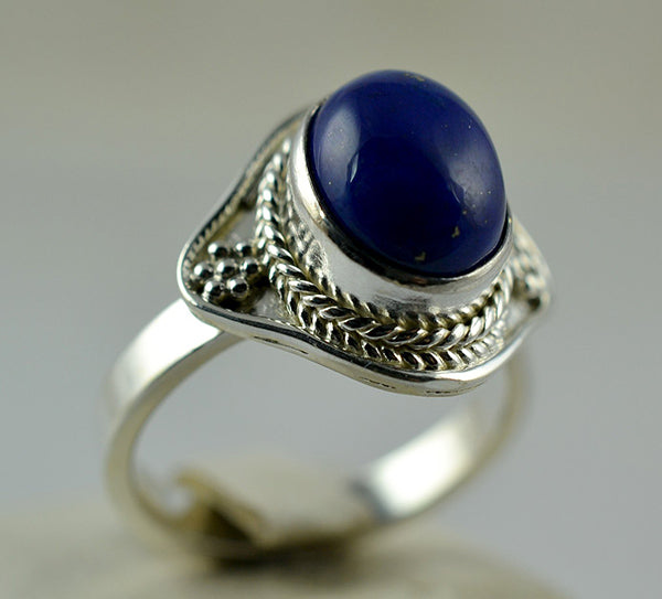 Lapis Lazuli 925 Solid Sterling Silver Handmade Charm Ring - NavyaCraft