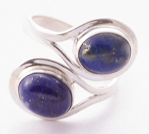 Lapis Lazuli 925 Solid Sterling Silver Handmade Duality Ring - NavyaCraft