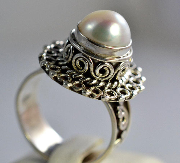 Fresh Water Pearl 925 Solid Sterling Silver Cultured Ring - NavyaCraft