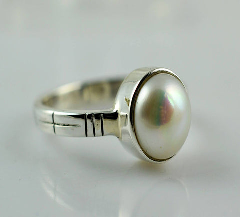 Fresh Water Pearl 925 Solid Sterling Silver Eternal Ring - NavyaCraft