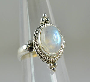 Rainbow Moonstone 925 Solid Sterling Silver Handmade Dome Ring - NavyaCraft