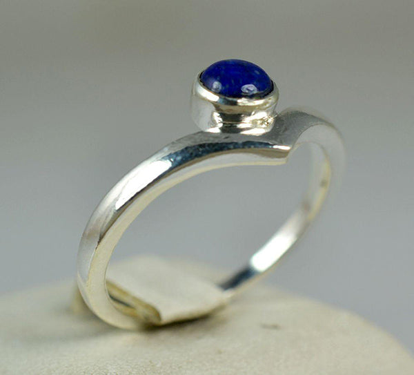 Lapis Lazuli 925 Solid Sterling Silver Handmade Fountain Ring - NavyaCraft