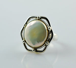 Freshwater Coin Pearl 925 Solid Sterling Silver Hex Ring Size 3- 13 US - NavyaCraft