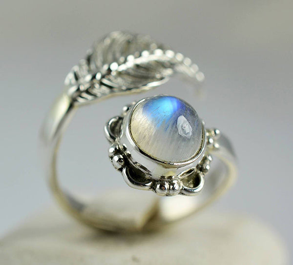 Rainbow Moonstone 925 Solid Sterling Silver Handmade Fern Ring - NavyaCraft