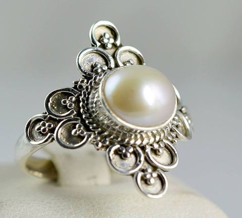 Fresh Water Pearl 925 Solid Sterling Silver Spirit Ring - NavyaCraft