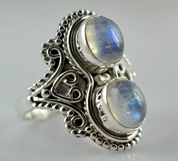 Rainbow Moonstone 925 Solid Sterling Silver Handmade Twin Ring - NavyaCraft
