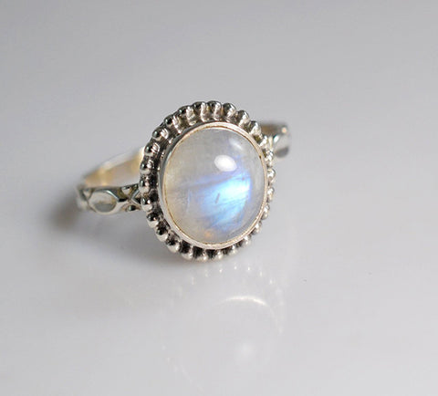 Rainbow Moonstone 925 Solid Sterling Silver Handmade Garland Ring - NavyaCraft