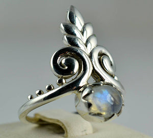 Rainbow Moonstone 925 Solid Sterling Silver Handmade Tiara Ring - NavyaCraft