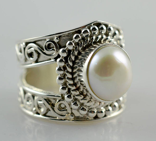 Fresh Water Pearl 925 Solid Sterling Silver Titan Ring - NavyaCraft