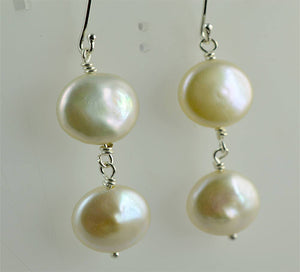 Fresh Water Coin Pearl 925 Solid Sterling Silver Handmade Dangle Earrings - NavyaCraft