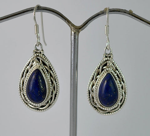 Lapis Lazuli 925 Solid Sterling Silver Handmade Drop Earrings - NavyaCraft