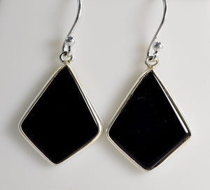 Black Onyx 925 Solid Sterling Silver Handmade Dangle Drop Kite Earrings - NavyaCraft