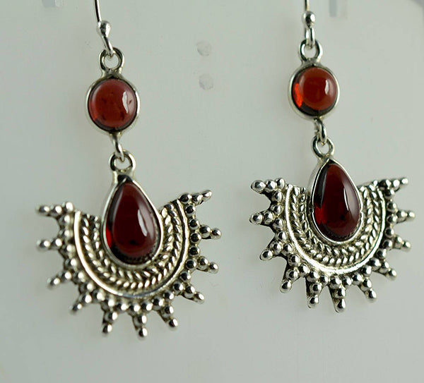 Garnet 925 Solid Sterling Silver Dangle Drop Sun Earrings - NavyaCraft