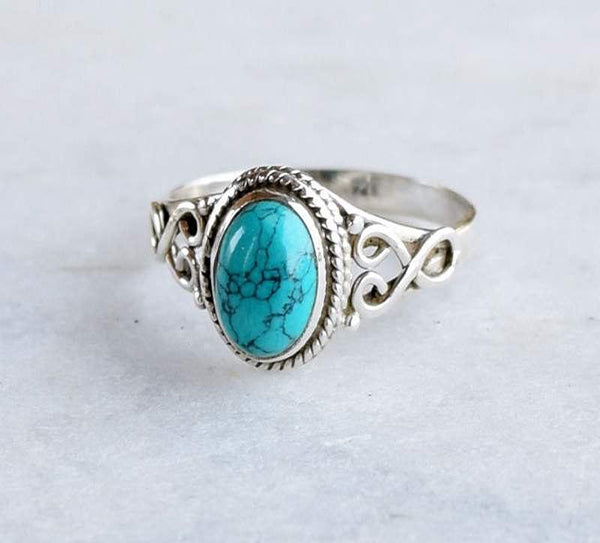 Turquoise Ring 925 Solid Sterling Silver Handmade Loop Ring - NavyaCraft