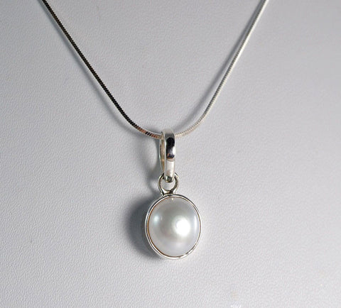 Fresh Water Pearl 925 Solid Sterling Silver Handmade Pendant with Chain - NavyaCraft