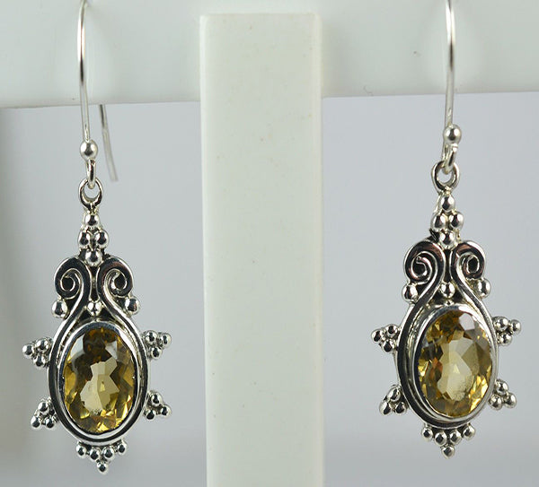 Citrine 925 Solid Sterling Silver Handmade Pineapple Earrings - NavyaCraft